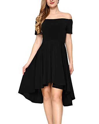 778670b2c0 Mixfeer Women Off The Shoulder Dress High Low Cocktail Dress High Low Skater  Dress