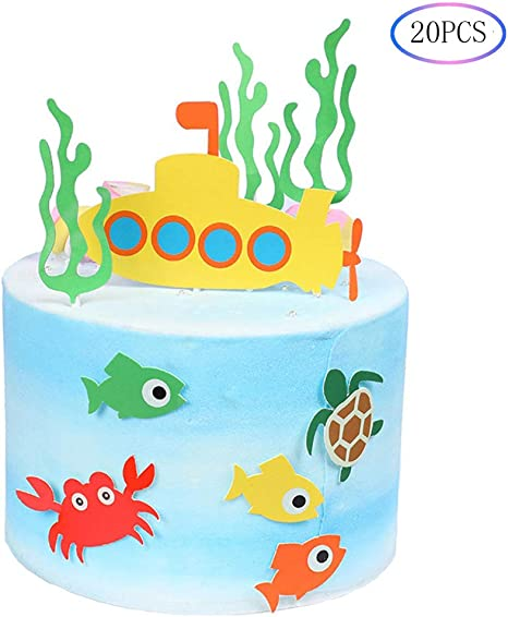 Fantastic Amazon Com 20Pcs Ocean Theme Cupcake Toppers Submarine Underwater Personalised Birthday Cards Sponlily Jamesorg