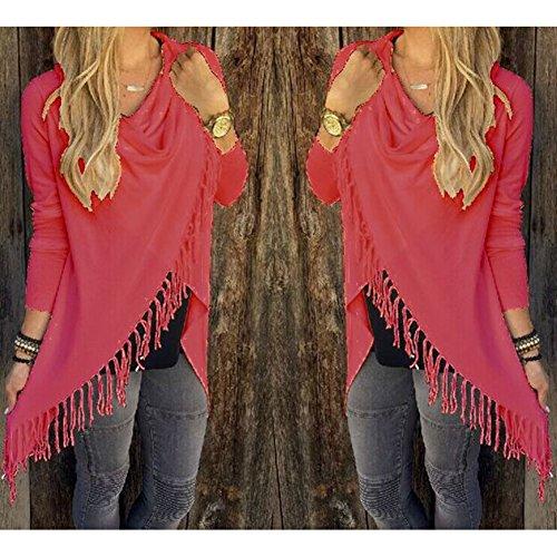 Hibote Maglieria M In L Rosso Top A S Invernale Outwear Colori Lunghe Maglia 5 Nappa Donne Maglione Cardigan Donna Xxl Irregolare Maniche Cappotti Cappotto Xl H5q6gRw