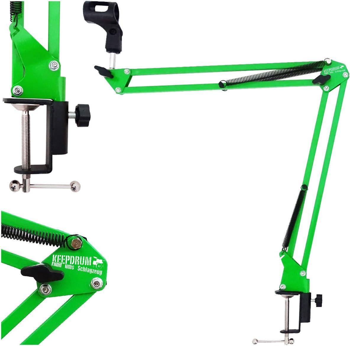 Keepdrum 5-nb35/gr verde mesa brazo de micr/ófono micr/ófono de tr/ípode brazo de giro