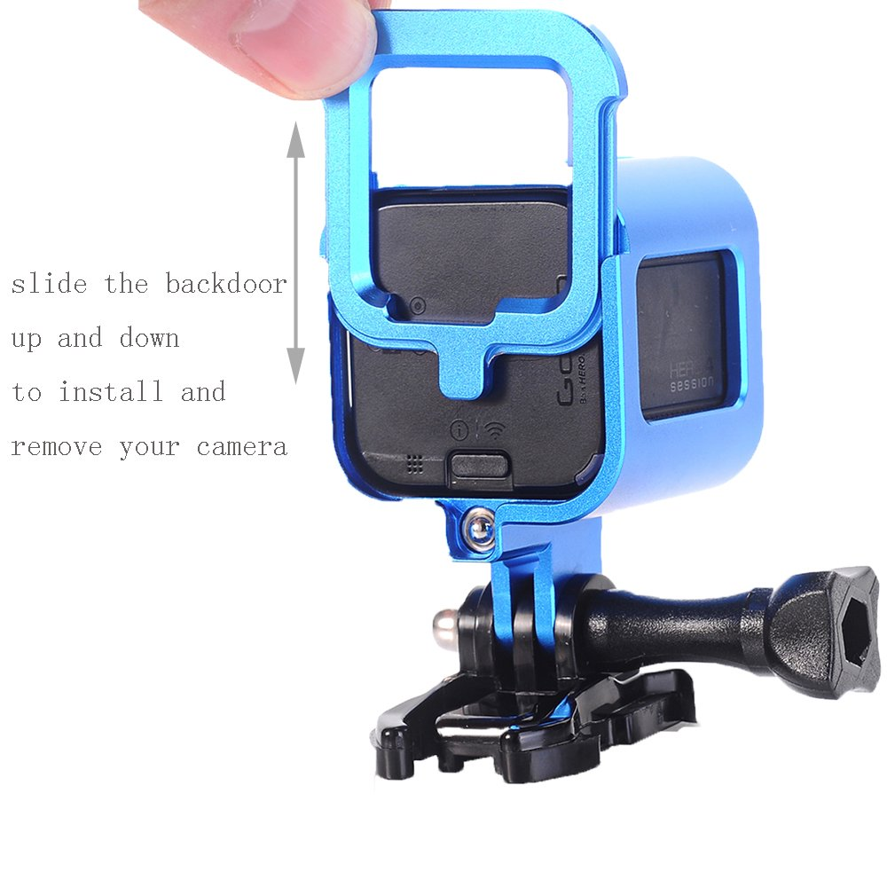 Nechkitter Aluminum Frame Mount for GoPro Hero 5 Session 4 Session Hero Session Blue CNC Aluminum Alloy Solid Protective Case with Wrench
