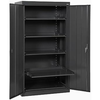 Sandusky ET52362466 09LL Black Steel Storage Cabinet, 5 Pull Out Shelves,  200