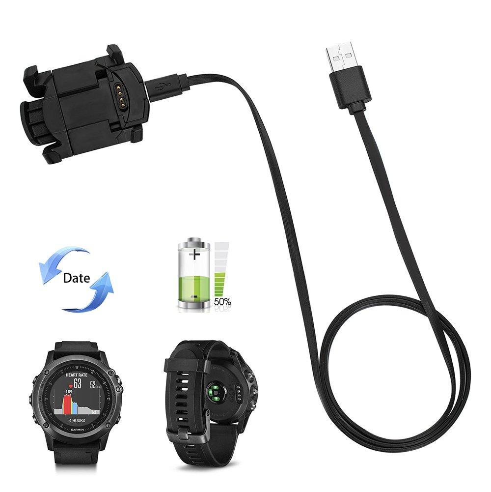 Garmin Charger Cable, Clip de carga para reloj Garmin Fenix 3/Fenix 3 HR, Cable de carga de repuesto con velcro