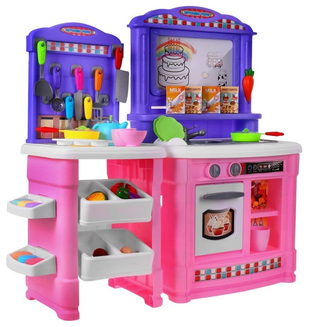 BSD Gioco d'imitazione Cucina per Bambini Cucina Giocattolo con Accessori e Lavagna Magnetica - rosa