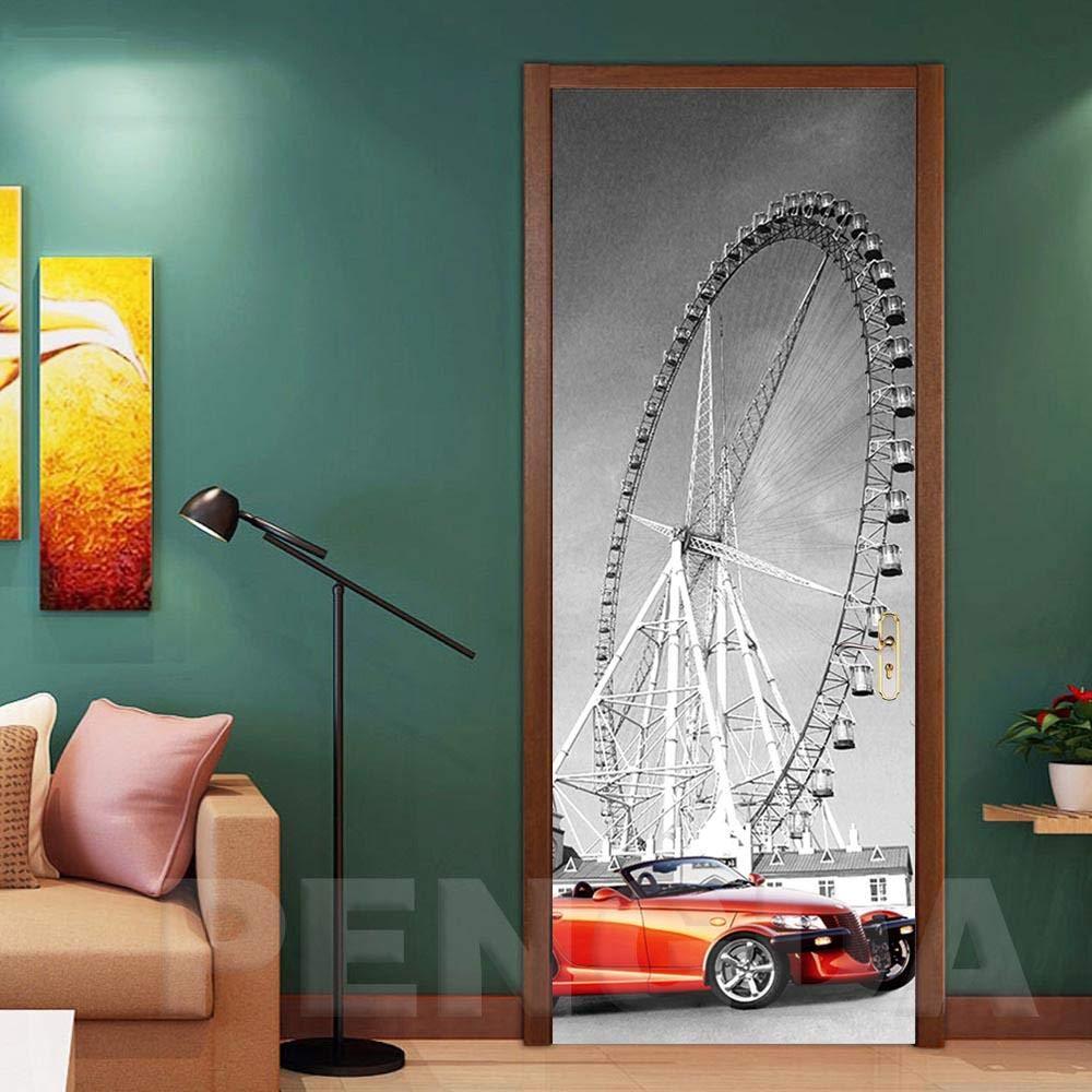 Heat Control Privacy Window Film Glass Stickers,Decal PVC Waterproof Car Ferris Wheel Home Decoration Art 3D Print Sticker Self Adhesive DIY Paper for Living Room Door Sticker (30.3 x 78.7 Inch)