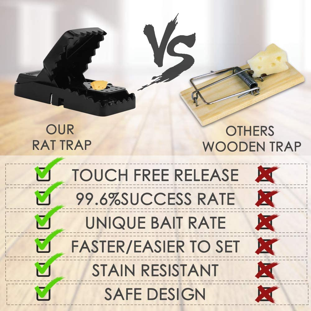 Nasharia Trampas para Ratones Juego de 6 Respuesta R/ápida Seguro Efectivo Rat Trap para Interiores y Exteriores Trampas para Ratas,Tramps Rat/ón de Reutilizable Alta sensibilidad Ratoneras Trampa