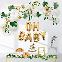 Ola Memoirs Greenery Boho Baby Shower Decorations Neutral with Balloon Garland, Oh Baby Balloons, Ivy Leaf Garland Vines…