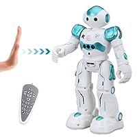 Virhuck Robots Radiocommandés R2 Enfants, Programmation Intelligente Gesture Sensing, Danser, Chanter Marcher, Parler Anglais ,Charge USB Cadeau Noël Anniversaire Enfant - Bleu