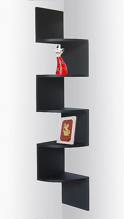 amazon com black finish corner zig zag wall shelf home kitchen rh amazon com zig zag corner shelves uk Living Room Shelves