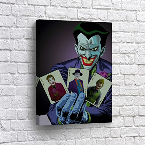 Buy4Wall The Joker Holding Different Joker`s Playing Cards CANVAS PRINT Comics Old School Cartoon Wall Art Home Decor Poster Artwork Stretched- Ready to Hang -%100 Handmade in the USA - 17x11