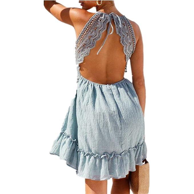acb97bdea6e0 Kleid damen Kolylong® Frauen Elegant V-Ausschnitt Spitze Ärmelloses ...