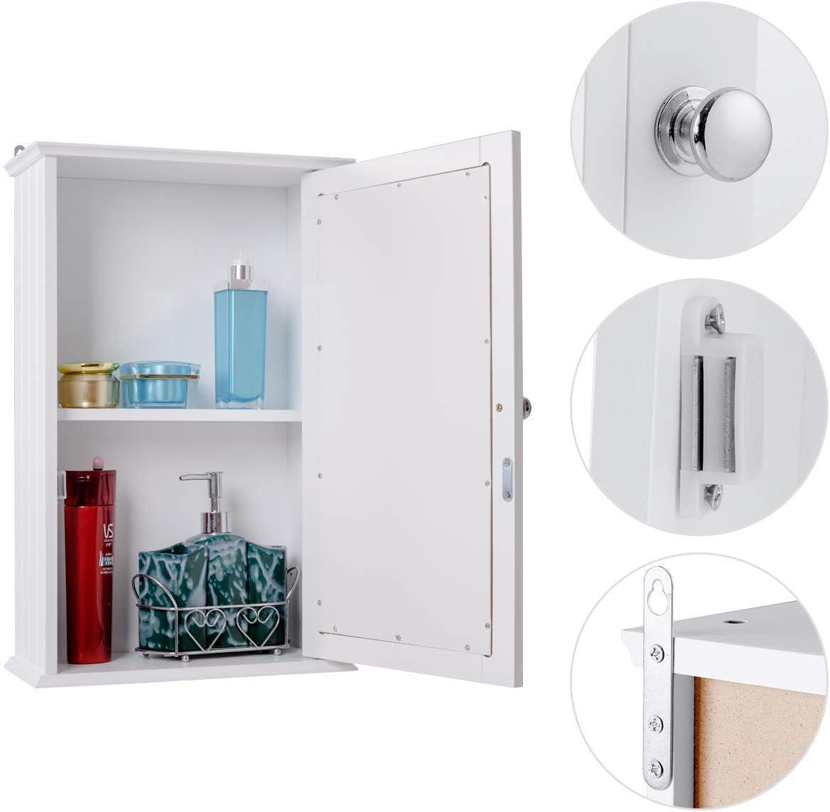 Armoire /à Pharmacie en Bois avec Etag/ère Ajustable Blanc Meuble WC Blanc 54 x 14 x 22 CM (L x l x H ) Costway Armoire de Salle de Bain avec 2 Porte Miroir