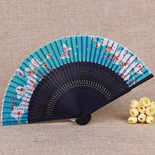 mqlerry Teapotty Craft Fan Vintage Hand Carved Chinese Wind Bamboo Fan,Blue Bone 2 Flowerwall Decoration/Wedding Party Gift