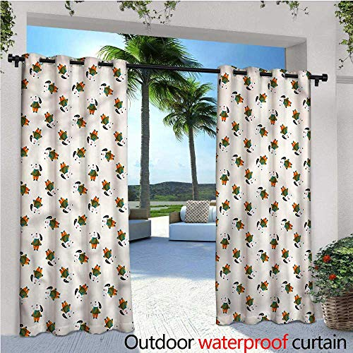 warmfamily Dog Indoor/Outdoor Single Panel Print Window Curtain Cartoon Beagle Puppy Silver Grommet Top Drape W120 x L96