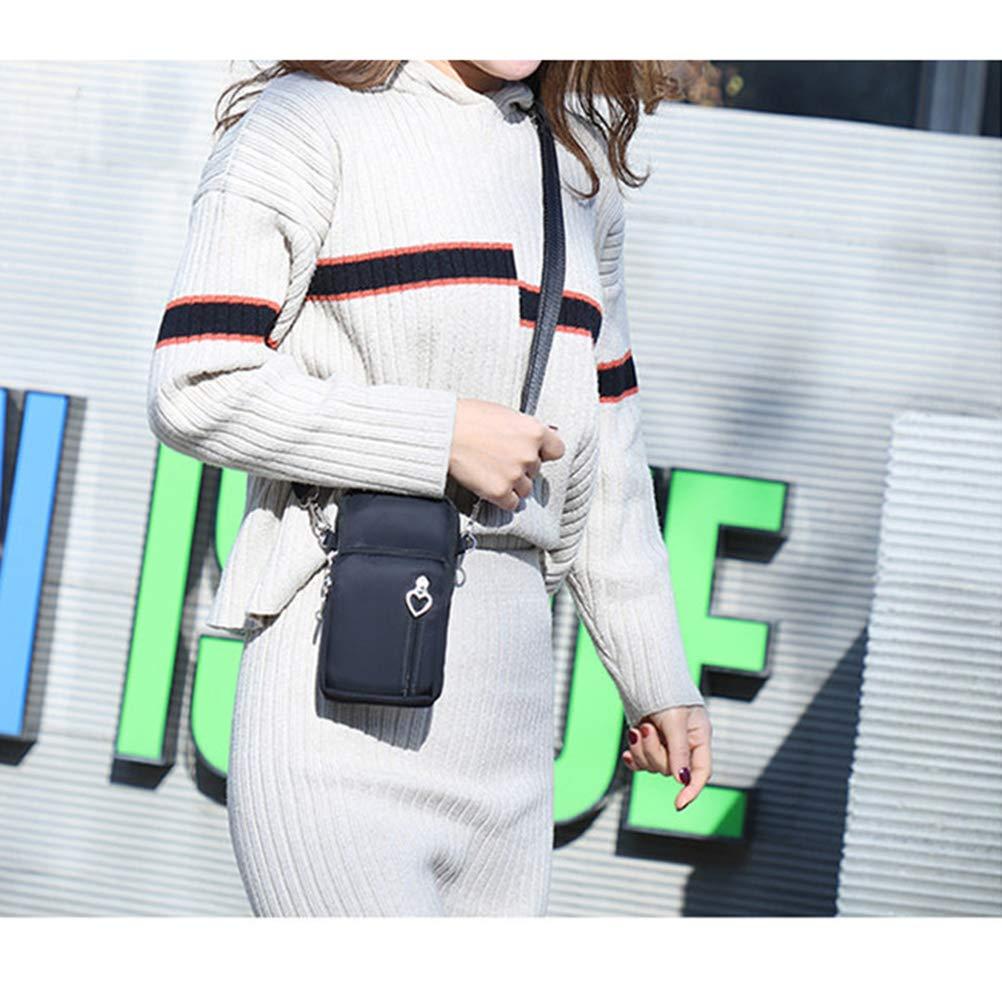 FENICAL Mode pour Femmes Sports Mini Sac carr/é Oxford Sac Messenger en Tissu Sacoche pour t/él/éphone Portable Sacs /à bandouli/ère Noir