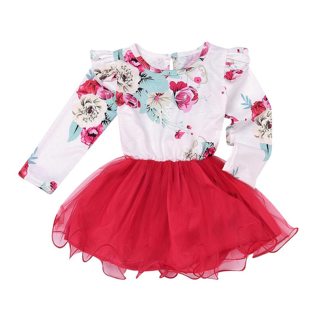 Tenworld Toddler Baby Girl Flower Ruffle Long Sleeve Tulle Tutu Princess Dress