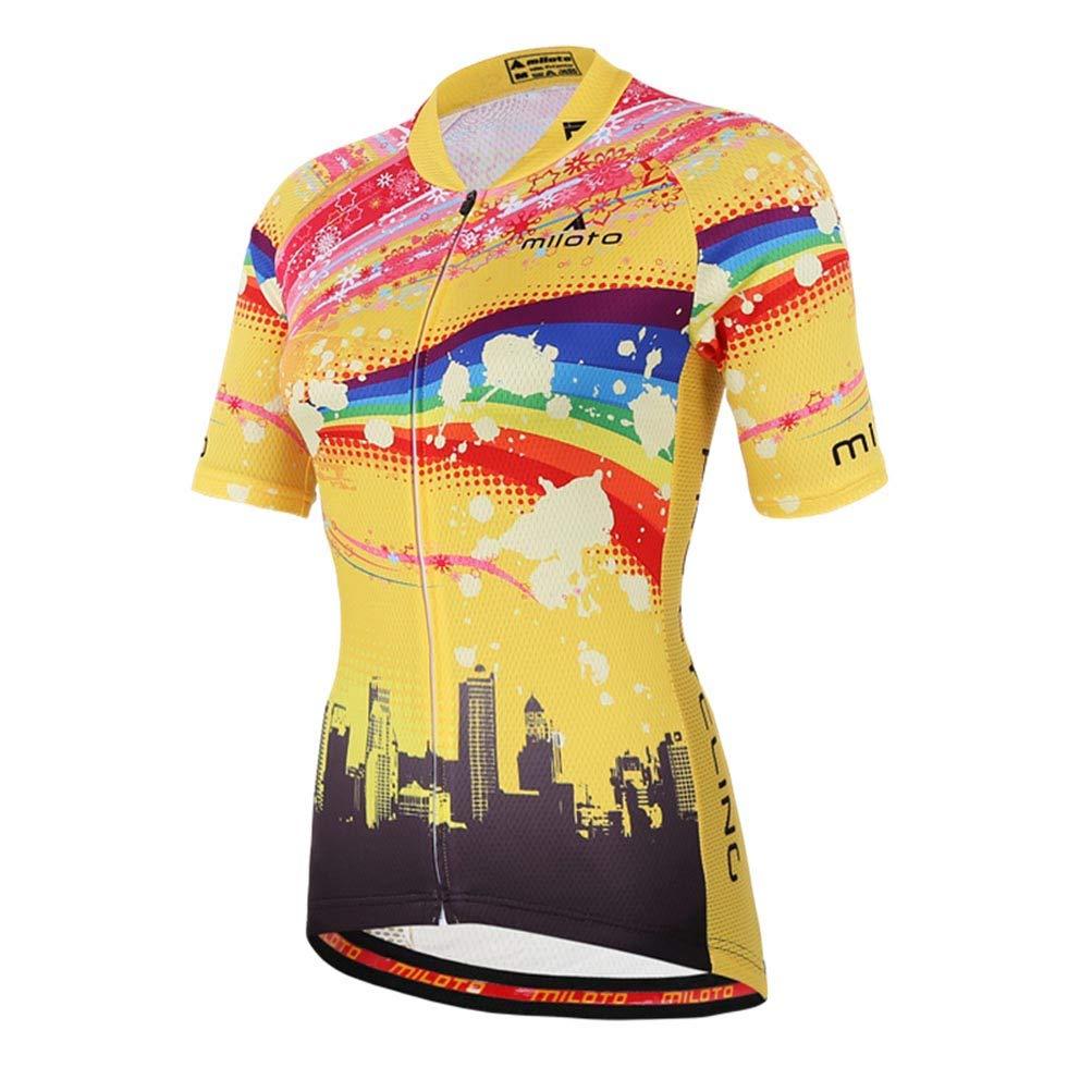 Uriah Women's Cycling Jersey Short Sleeve Reflective Raibow Sky Size 4XL(CN) by Uriah