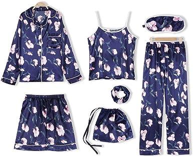 Pijamas Mujer Ropa de Dormir Ropa de Casa Elegante 7 Piezas Camisónpara Mujer Suave y Comodo Dormir Casual Conjunto de Pijamas para Todas Las ...