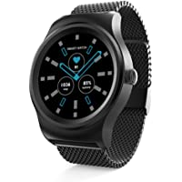 SMA-Round Men Smart Watch for Android and iPhones at Prime Day,Bluetooth and Pedometer Watch Heart Rate Monitor,Remote Camera Fitness Tracker,Black-Steel Strap