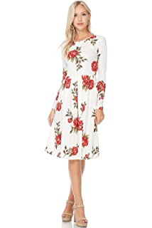 00a2e80bc55 Reborn J Modest Shop LA MSLA7758 Floral Pleated Midi Dress With Pockets, Long  Sleeve