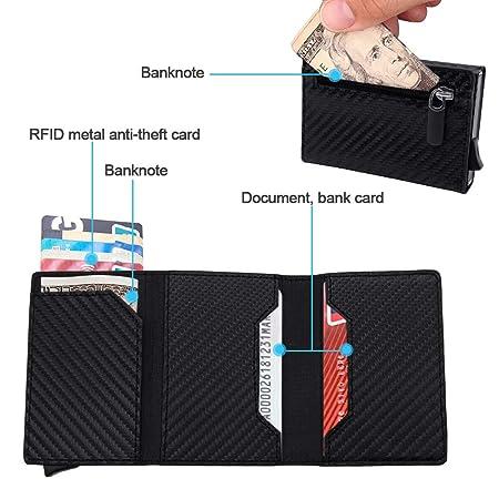 SPECOOL Tarjetero para Tarjetas de Crédito RFID Bloqueo,Aluminio Titular de Tarjeta de Fibra de Carbono Cartera Minimalista Slim Wallet para Mujer y ...