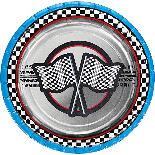 Creative Converting Foil Racing Paper Dessert Plates (8 Count), 7