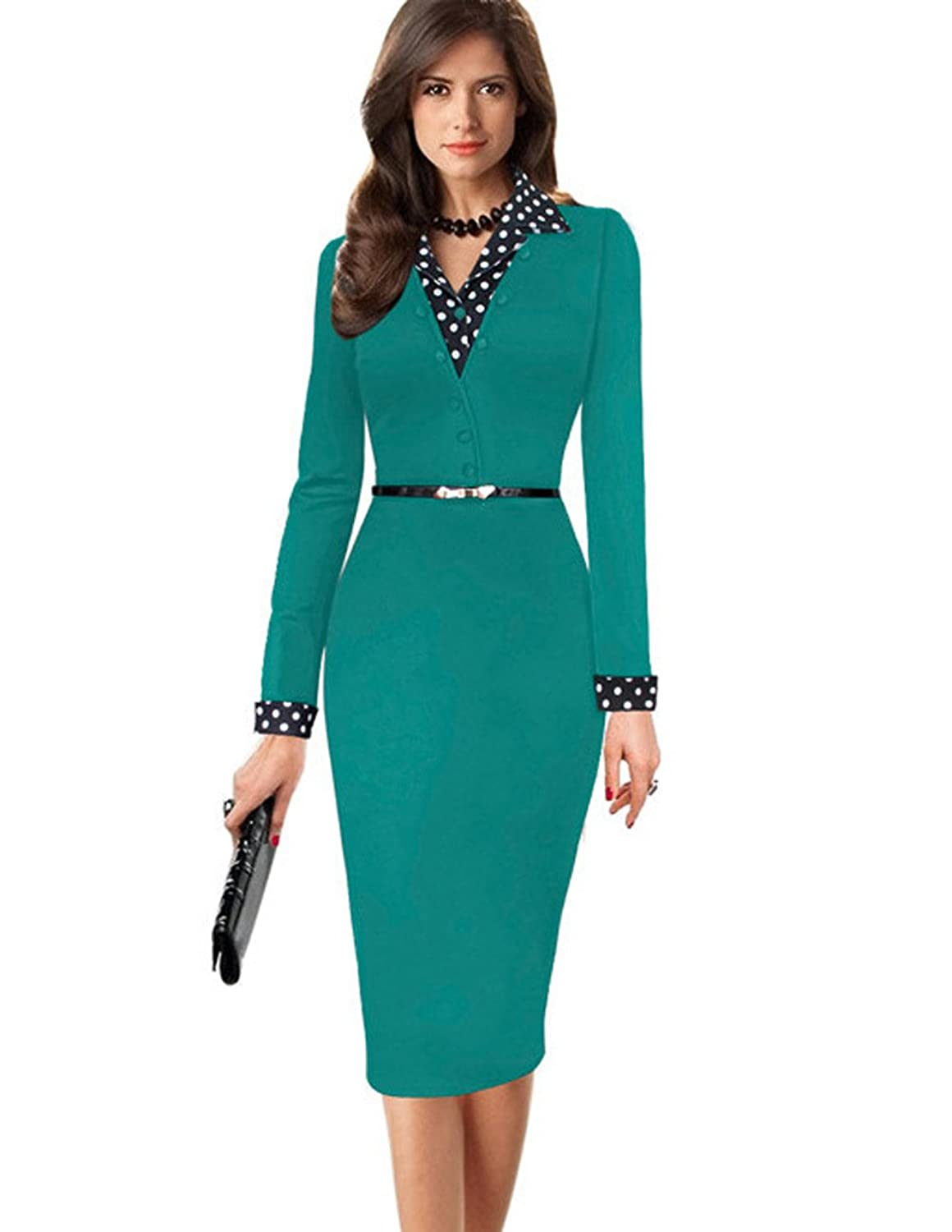 OU GRID Women's Long Sleeve Polka Dots Patchwork Bodycon Pencil Dress with Belt