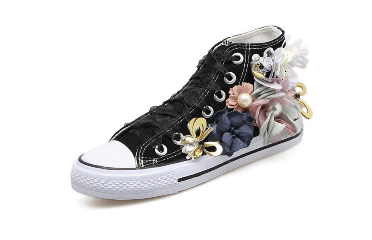 Les Chaussures Chaussures de Toile Décoratives de Fleurs Faites à Lacé à la Main des Femmes Ont Lacé des Chaussures Plates Plates. Black a4707c3 - reprogrammed.space