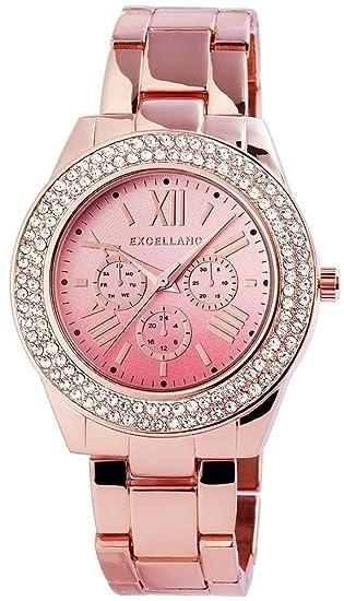 Reloj mujer color rosa plata Rosè Oro Analog Chrono de Look brillantes Reloj de pulsera