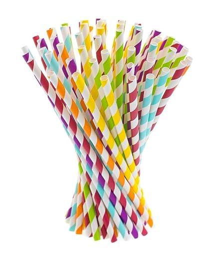 Zeagro Pajitas de Papel, Paquete de 200, pajitas de Papel biodegradables, pajitas de Rayas Fiestas, carnavales y Manualidades: Amazon.es: Hogar