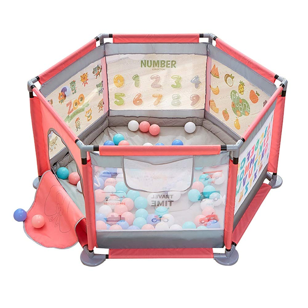 赤ちゃんPlaypen子供フェンス子供赤ちゃん幼児フェンスクロールマットホーム屋内遊び場 (色 : Pink, サイズ さいず : Ocean ball X200+mat) Ocean ball X200+mat Pink B07KXVRXY5