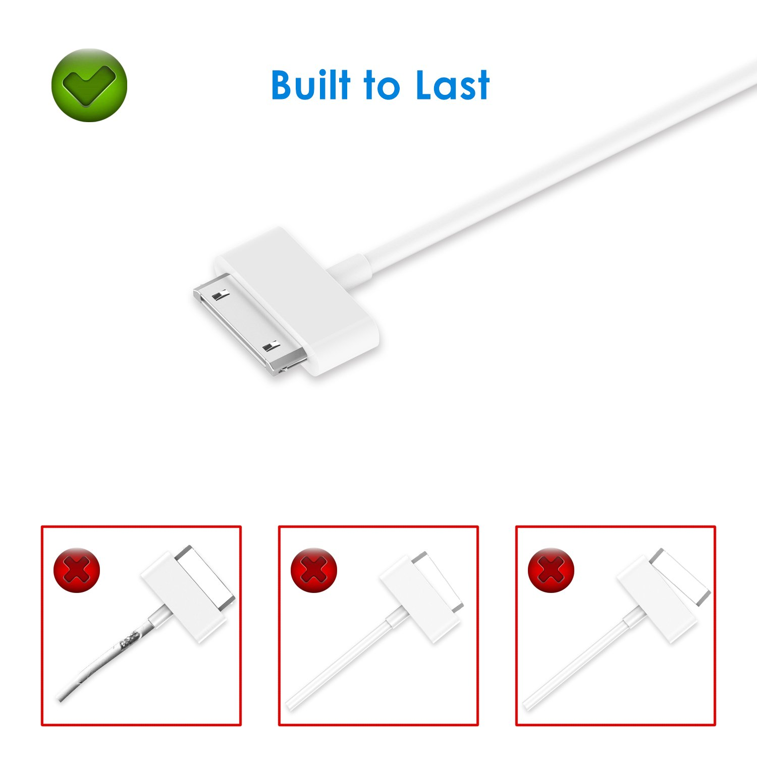 Jetech Usb Sync And Charging Cable For Apple Iphone 4 4s 30 Pin Ipod To Wire Schematic 3g 3gs Ipad 1 2 3 32 Feet White Cell Phones Accessories