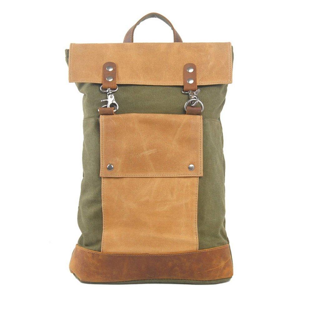 Sunbobo Männer Frauen Rucksack Daypack Wasserdichte Vintage Reißverschluss Leinwand 15 Zoll Laptop Student Outdoor-Shopping (Farbe   Armeegrün)