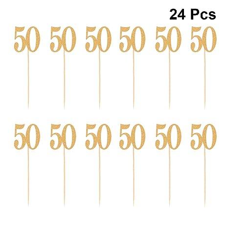 BESTONZON 24 Piezas Toppers de Pastel Glitter Paper Number 50 Cake Frutas Selecciones Decoración de la Magdalena Suministros para Fiestas (Dorado)