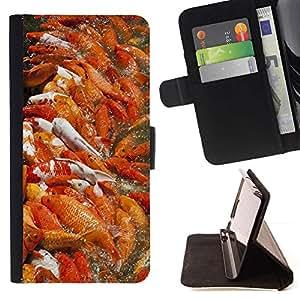 For HTC One A9 Case , Koi Pond Pesca Naranja Naturaleza Primavera- la tarjeta de Crédito Slots PU Funda de cuero Monedero caso cubierta de piel