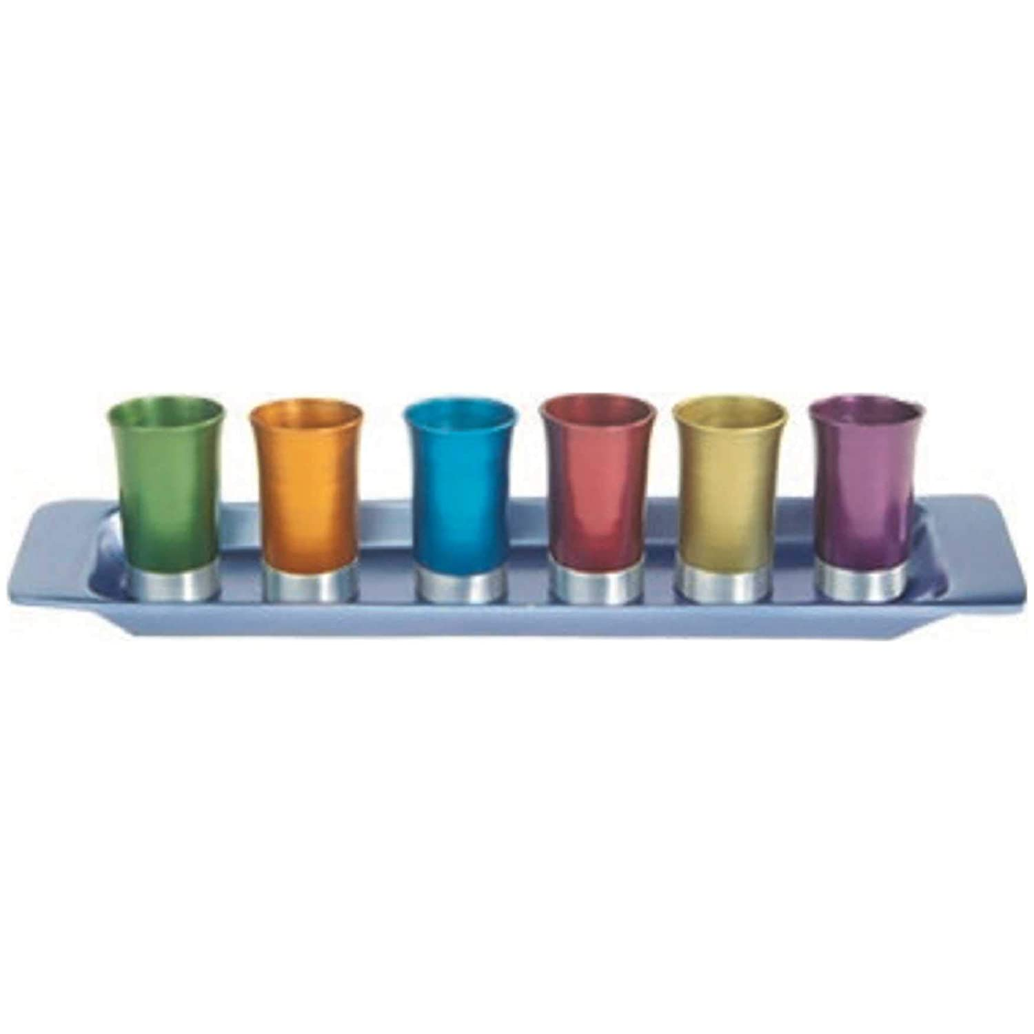 GS-6A Yair Emanual Set of 6 Small Kiddush Goblets Cups with Tray Aluminum  Multicolor  Judaica World of Judaica AR-GS-6A