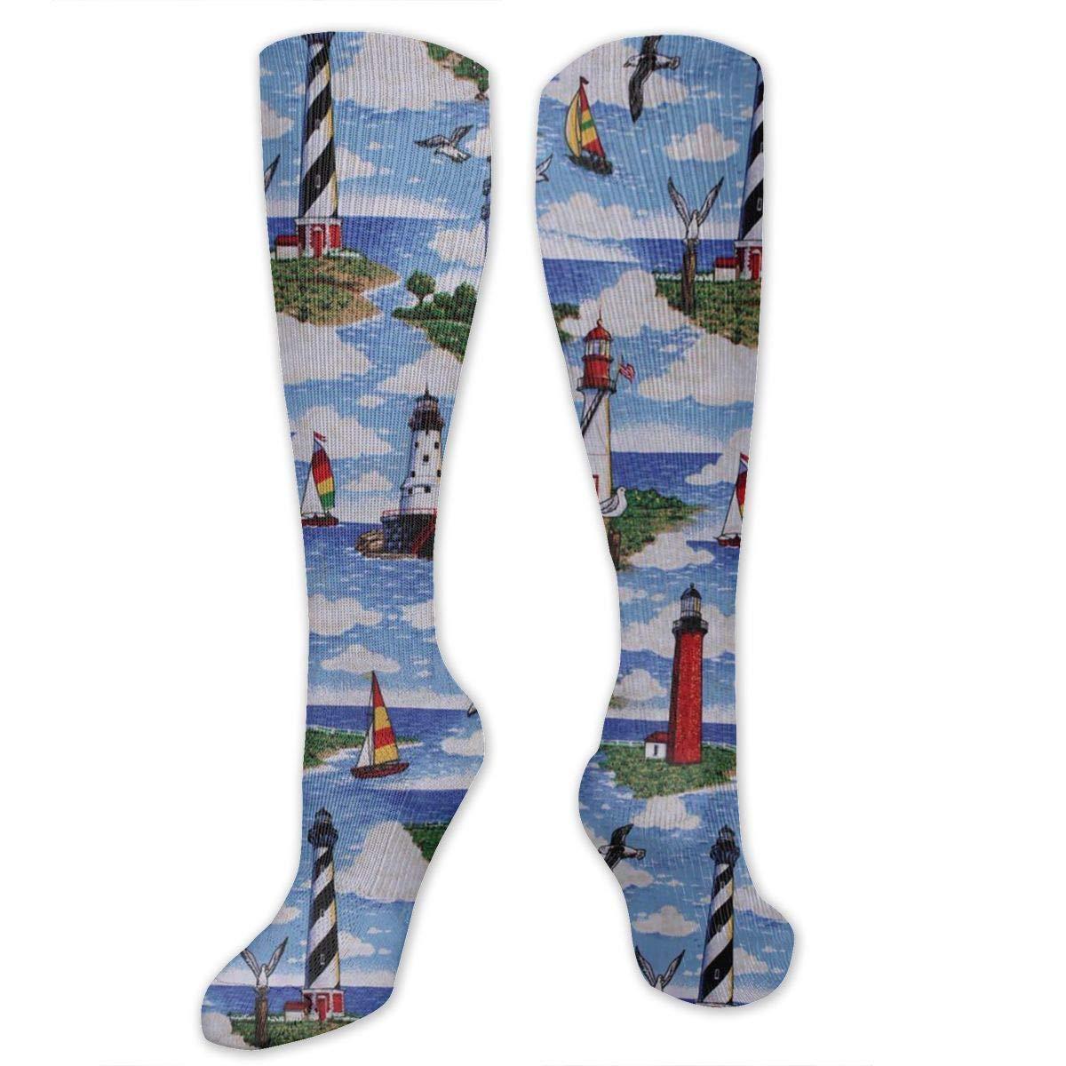 Lighthouses Scene Big Sable Compression Socks Long Knee Stockings High Socks for Hiking Soccer Running