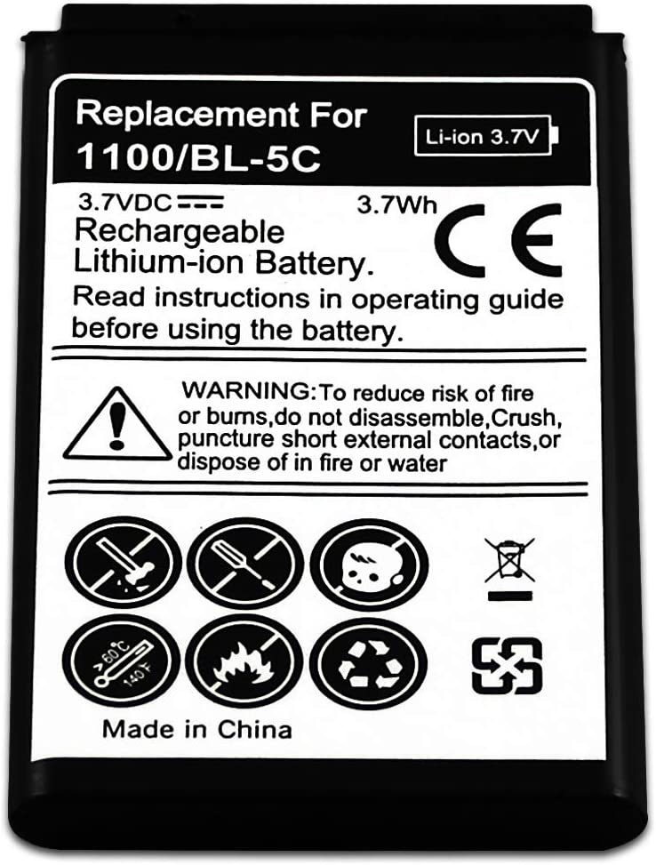 WalR Rechargeable Replacement Cell Phone Battery for Nokia Series 3120 3155i 3200 3600 3620 3650 3660 5130 6030 6086 6108 6205 6230 6235 6270 6555 6600 6620 6630 6670 6682 7600 7610 E50 E60
