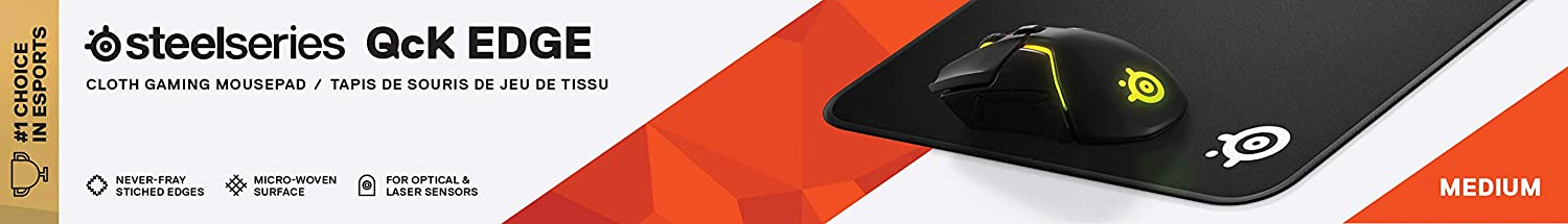 SteelSeries QcK Edge optimized for gaming sensors stitched edge to prevent wear Cloth Gaming Mouse Pad size M