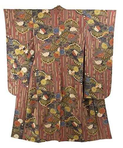 アダルトギャラリー伝染性リサイクル 着物 振袖 正絹 袷 縞に笠松や菊 裄62.5cm 身丈158cm