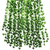 Kbnian 12 Pack 84 Ft Artificial Ivy Garland Foliage Green Leaves Vine Plant Garland Fake Foliage Flowers for Wedding Party Garden Wall Decoration.