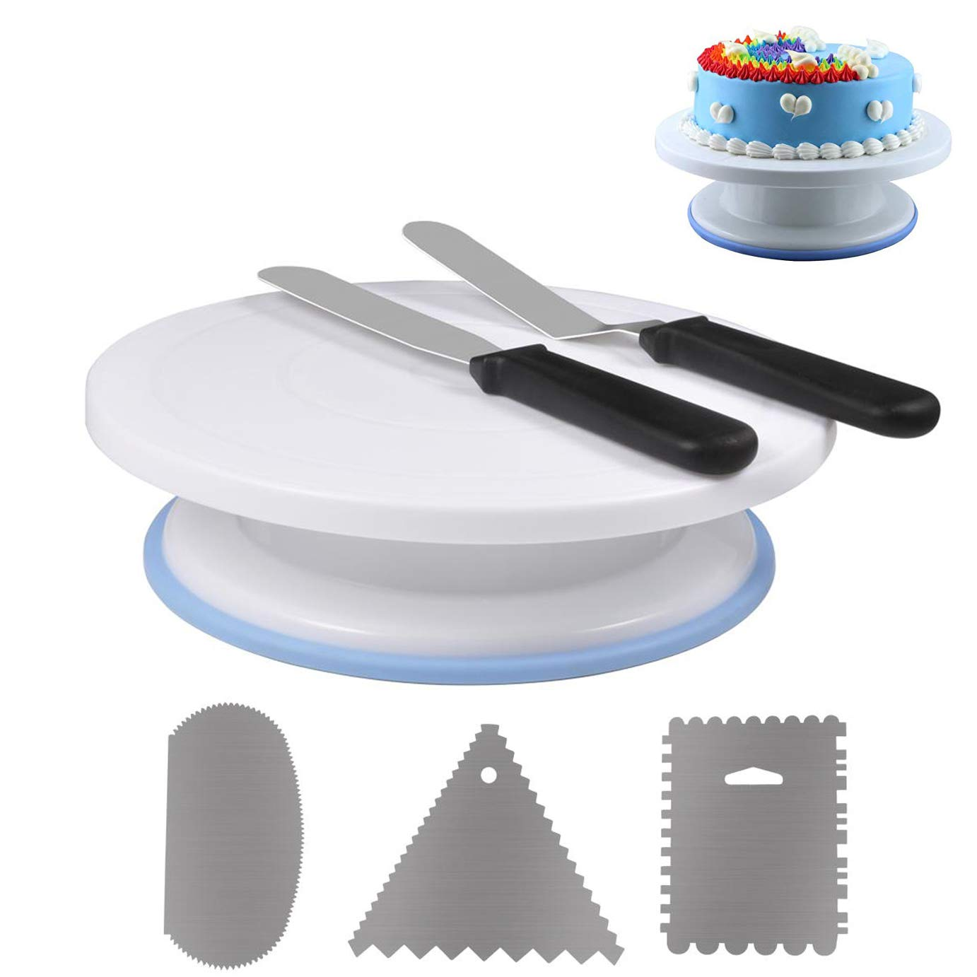 11 Inch Rotating Cake Turntable with 3Pcs Birthday Cake Scraper Icing Smoother, Straight & Off Set Spatula for Beginner, Revolving Cake Stand Cake Supplies for Cake Decorations/Pastries/Cupcakes by RAINBEAN