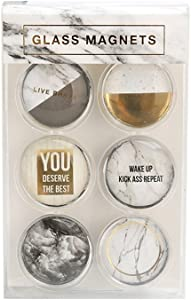 "Kxtffeect Round Glass Fridge Magnets for Decorative Refrigerator, Dry Erase Board, Whiteboard Calendar Maps - 1.18"" (Marble White)"