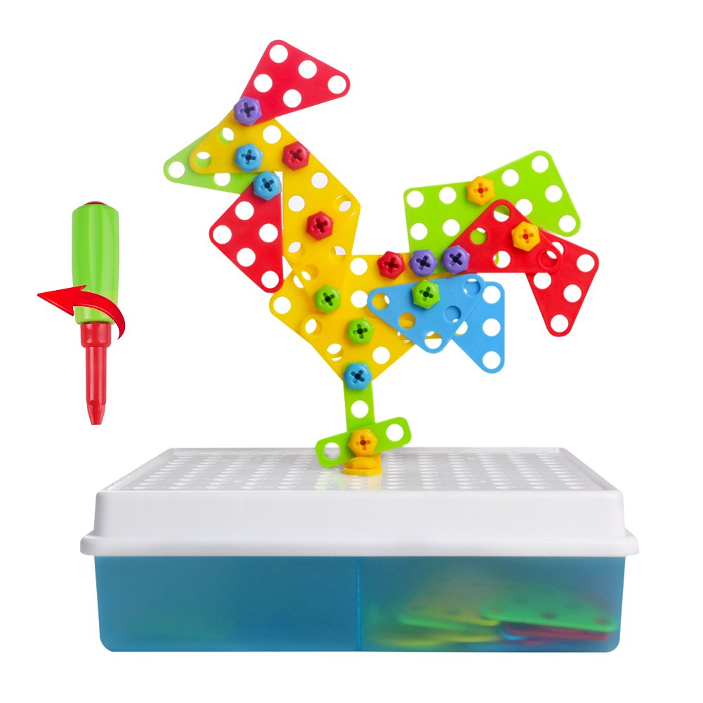 3D DIY Take Apart Game Puzzle Mosaic Pegboard Imagination Creative Building Bricks Blocks 2 in 1 Assembly Disassembly Construction Toys Set with Screw Nuts Tools 3 Year Old Birthday Gifts for Kids Girls Boys TLH