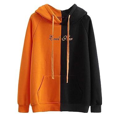 ☺Sweatshirts Hoodies Damen Oberteil Hemd Pullover Locker Sport Freizeit  Premium Kleidung mit Kapuzen Patchwork Kapuzenpullover Langarmshirt Bluse  mit ... 7faf5c2e94