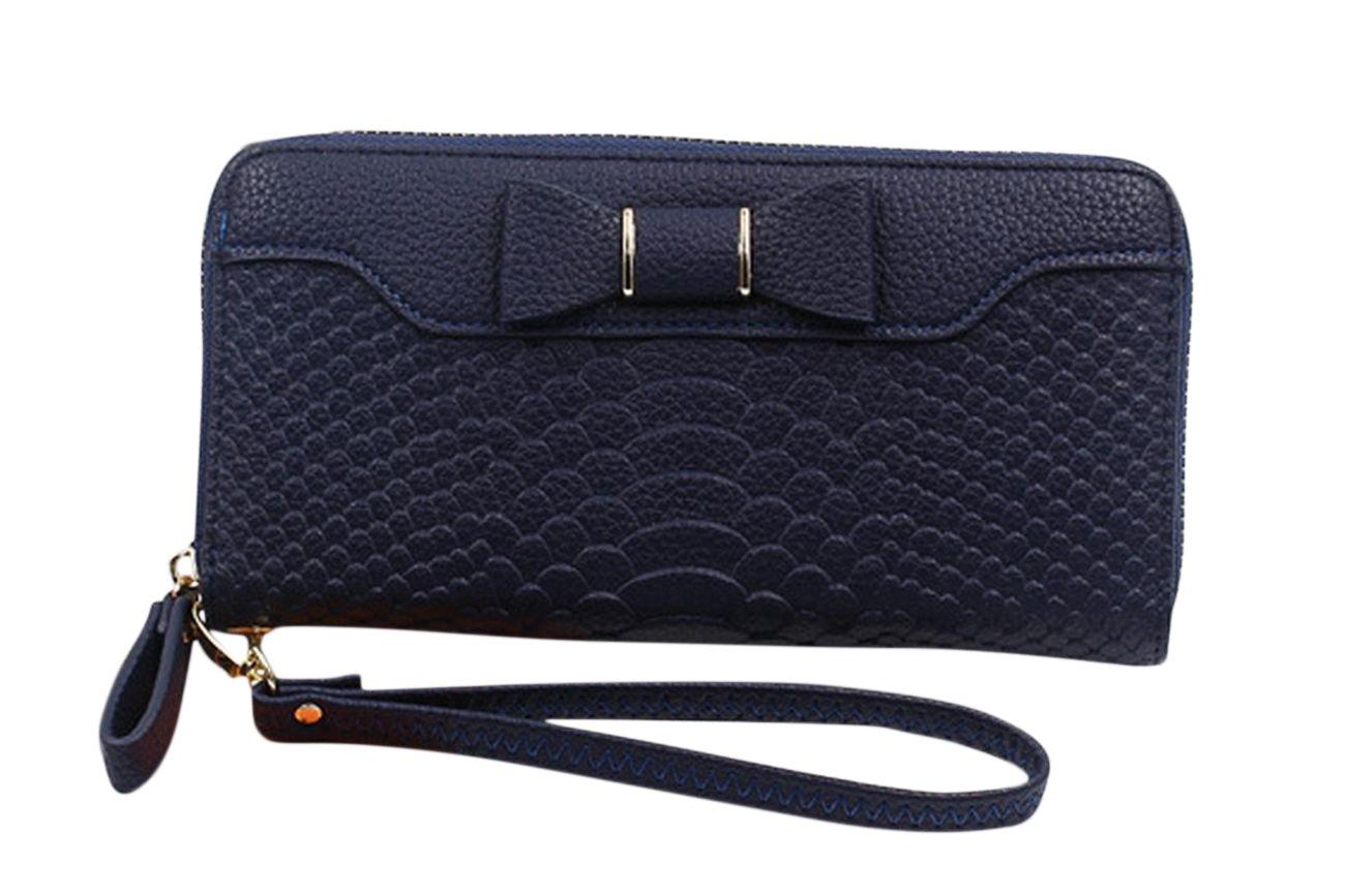 SELECTIA Women's Wallet PU Leather Zipper Long Purse Leather Phone Wallets Elegant Female Brand Designer Long Zipper Coin Purses Girl Money Evening Bags with Strap Cute Bow 25 (Dark Blue)