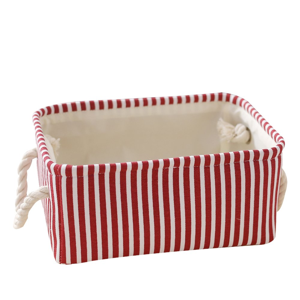 TcaFmac Small Rectangular Decorative Fabric Storage Basket Bin with Cotton Rope Handles for Home Office Closet and Organizer Baby Basket