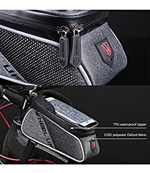 Bike Frame Bag Bicycle Phone Mount MOZOWO Waterproof Cycling Front Top Tube Pouch Bike Frame Phone Holder Pannier Crossbar Storage Bags for iPhone Xs MAX XR X 8 7 6 6S Plus Smartphones Below 6.0