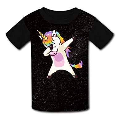 6a7ea7fab Amazon.com: Kids Funny Dab Unicorn Rainbow Fashion Youth Short Sleeve T  Shirt for Girls & Boys: Clothing