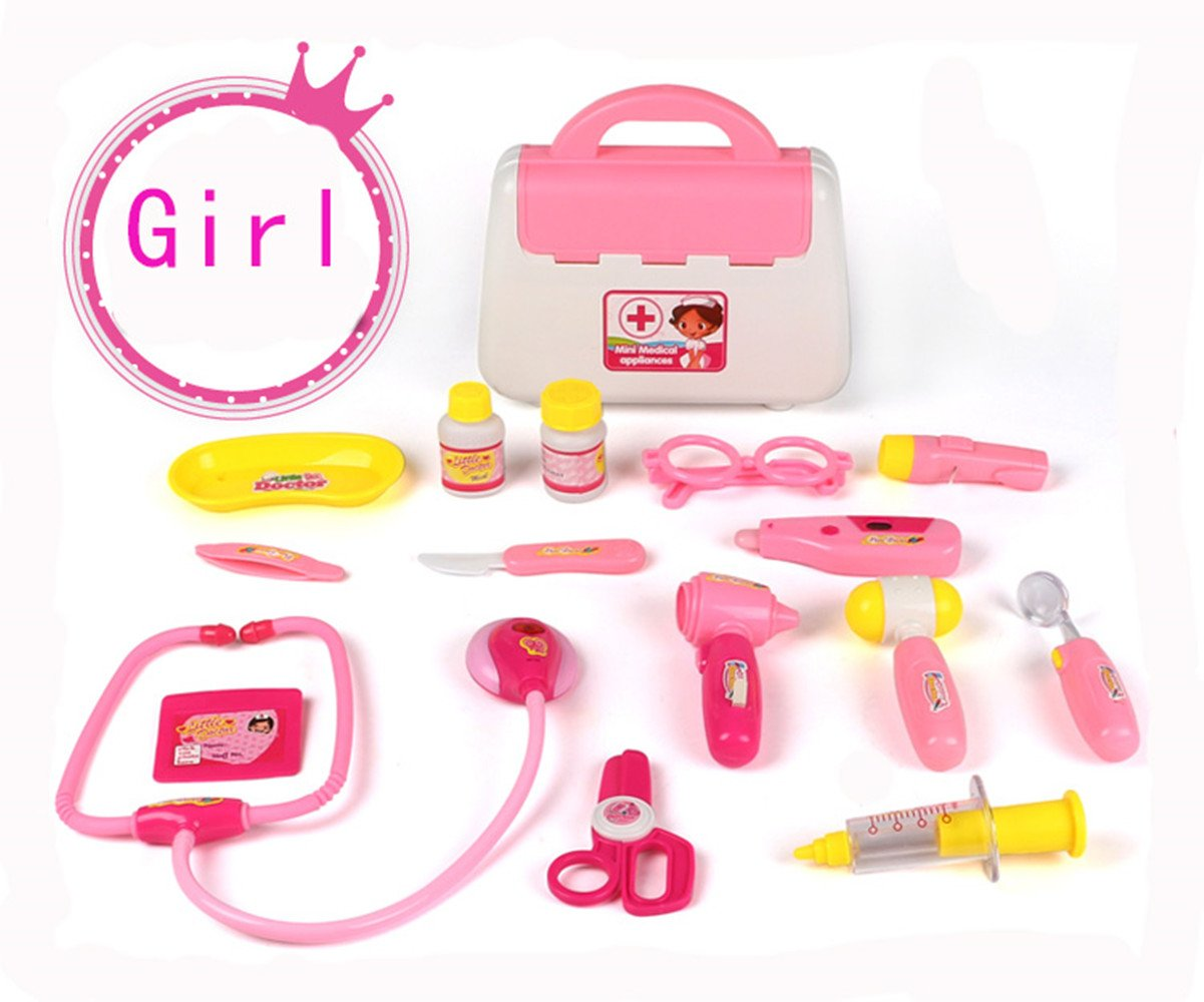 Doctor Nurse Pretend Toy Carry Case Medical Set Role Play for Girls Boys Jouet Gifts Age 3 and Up Pink Kotzeb